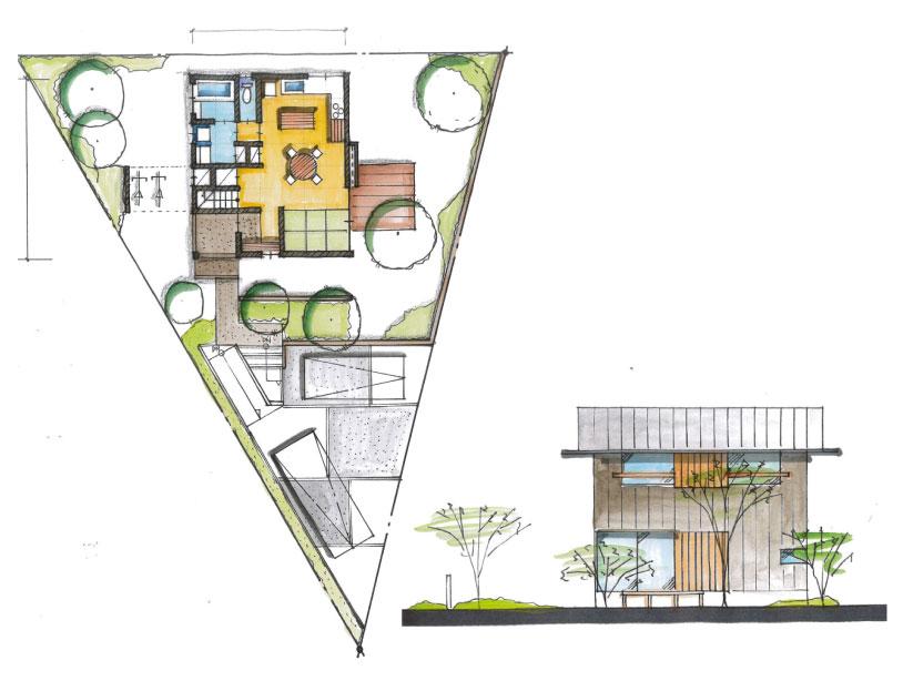 三角形の敷地の物件図面